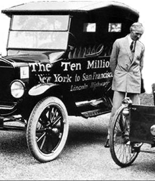 Henry Ford with 10 Millionth Ford Model T and 1896 Quadricycle